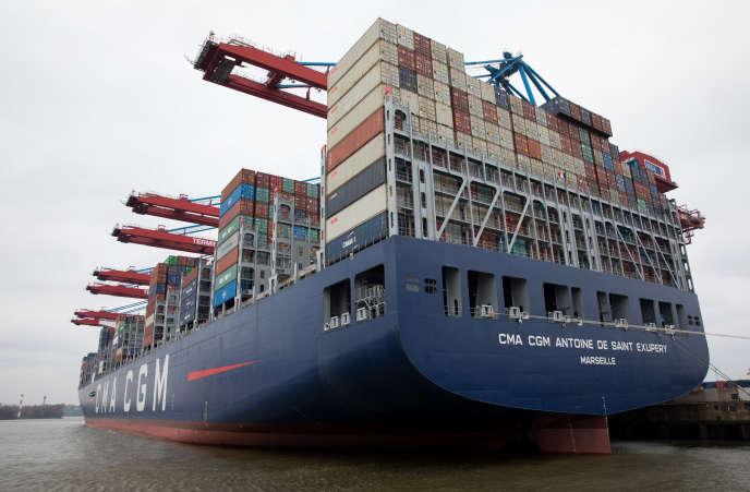 Le porte-conteneurs «Antoine-de-Saint-Exupéry», en mars, à Hambourg, en Allemagne.