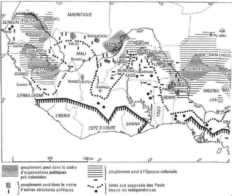 Carte de peuplement de la communauté peule tirée de l'ouvrage deJean Boutrais « Pour une nouvelle cartographie des Peuls », éd. Cahiers d'études africaines, 1994.