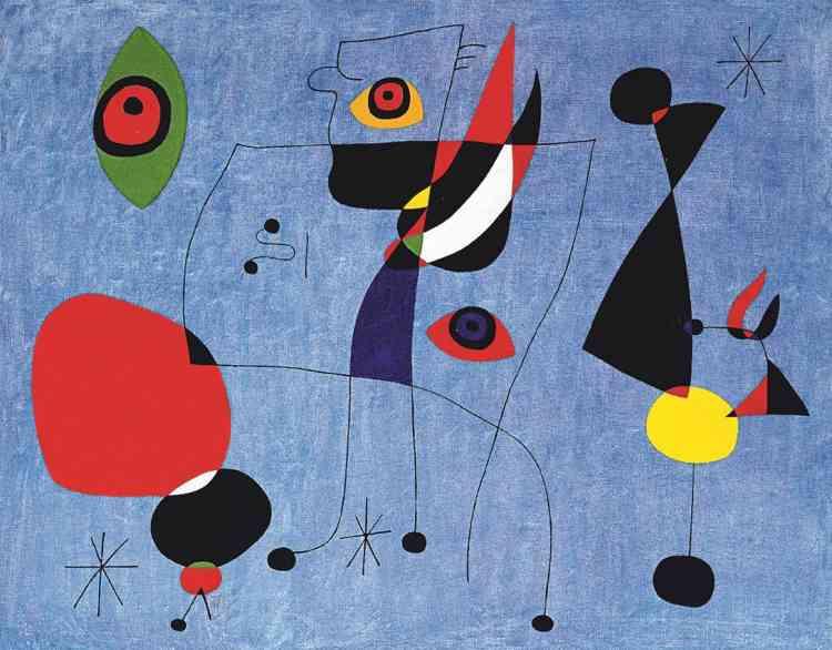 Lignes minces, aplats de couleurs, formes épurées ‒ où l'on reconnait un œil ou un visage‒ qui oscillent entre figuratif et abstraction : Joan Miro a su inventer et développer un langage unique, composé de signes simples, qui constitue sa signature graphique.