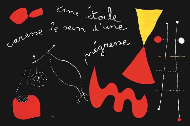 Féru de poésie et de littérature, Joan Miro est, à l'époque où il réalise ses premiers «tableaux-poèmes», très proche de Paul Eluard. Entre deux couleurs primaires, une phrase traverse le support: l'artiste écrit et peint à la fois, associant deux modes d'expression qui dialoguent désormais ensemble.