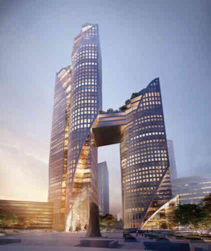 Ces deuxtours végétalisées seront reliées par une plate-forme à environ 80m de haut. L'une des deux tours accueillera des bureaux, et l'autre un hôtel. Livraison en 2022.
