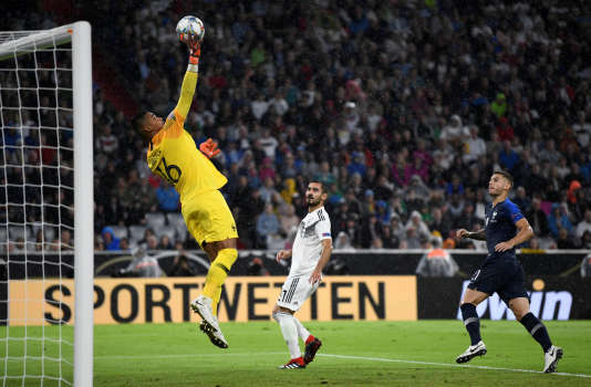 Alphonse Areola a réalisé un arrêt spectaculaire, jeudi 6 septembre, à Munich, lors du match d'ouverture de la Ligue des nations, France-Allemagne.