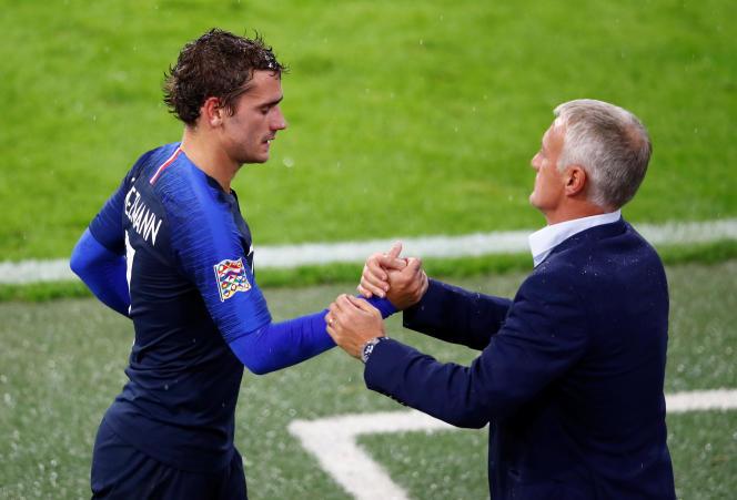 Antoine Griezmann et Didier Deschamps, jeudi 6 septembre, à Munich.