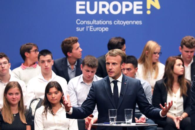 Le président français, Emmanuel Macron, lors d'un discours à laPhilharmonie Luxembourg, le 6 septembre 2018.