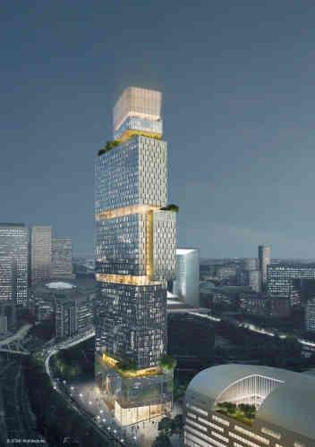 Cette tour de 65 000 m² rassemblera 730 chambres réparties entre différentes enseignes d'hôtellerie. Elle comprendra un restaurant-bar à son sommet. Livraison en 2022.