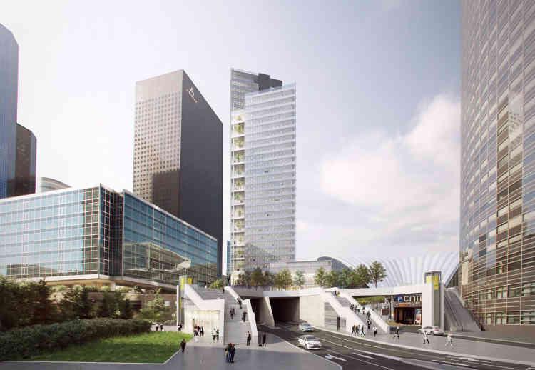 La tour d'Unibail-Rodamco (33 étages), construite par Vinci, s'élève sur un nouveau parvis piétonnier. Livraison en 2019.