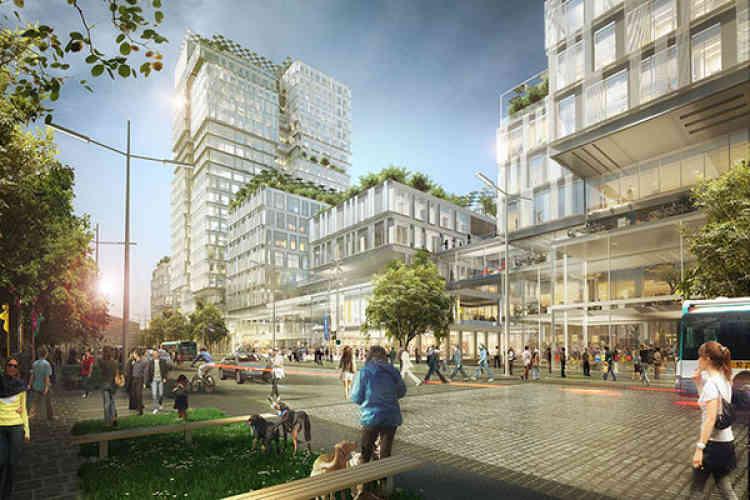 Autour d'une nouvelle gare du RER E et du Grand Paris Express, un nouveau quartier, avec5 000 logements et200 000 m² de bureaux, sortira de terre. Cette vaste opération d'aménagement, qui a commencé, s'achèvera en 2030.