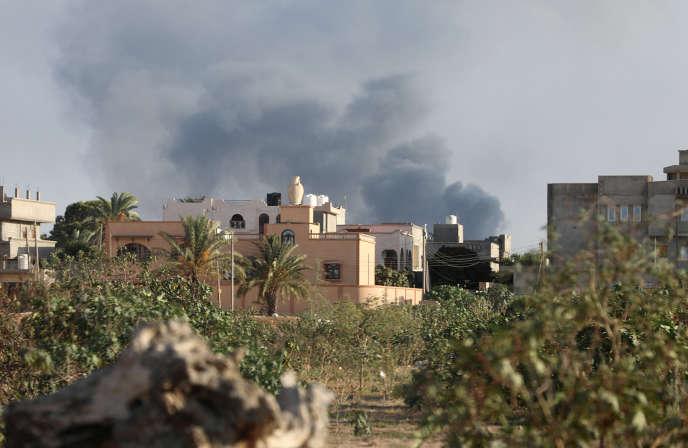 A Tripoli, en Libye, lors de combats entre factions rivales, le 28août 2018.
