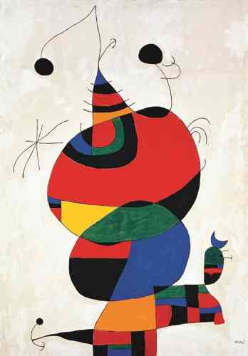 Résolument tourné vers la modernité, Joan Miro compose ensuite des toiles colorées et lumineuses dans lesquelles apparaissent des êtres hybrides, dépassant les frontières et les genres.