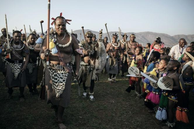 Le roi du Swaziland, MswatiIII, à Lobamba, le 31août 2015.