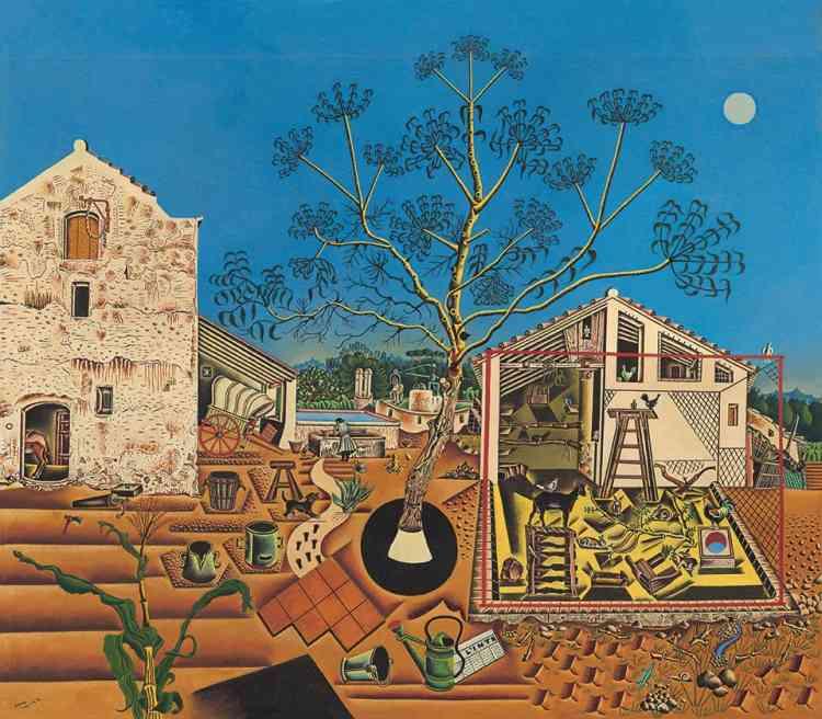 Cette peinture figurative rend compte de son attachement à sa terre natale, la Catalogne, et du Mont-roig qu'il redécouvre en juillet 1921.«Il part de la réalité de l'homme qui cultive et la réinvente avec ses propres codes et signes désormais inoubliables», précise Jean-Louis Prat, le commissaire de l'exposition.