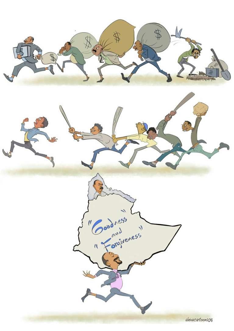 Un dessin du caricaturiste éthiopien Alex Tefera, exilé à Londres.