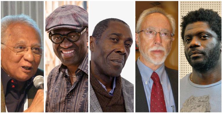 De g. à dr. : Henri Lopes, Alain Mabanckou, In Koli Jean Bofane, J.M. Coetzee et Gauz.