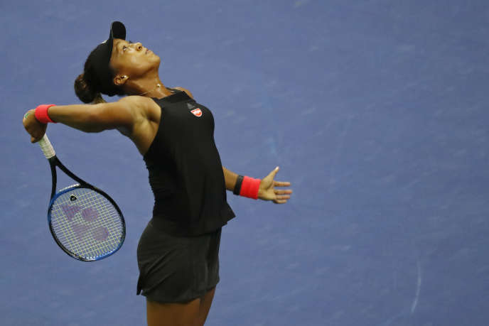 Naomi Osaka, lors de sa demi-finale contre Madison Keys, le 6septembre, sur le court Arthur-Ashe.