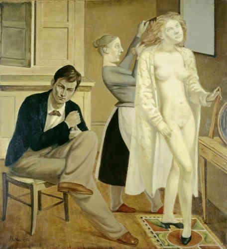 """«""""La Toilette de Cathy"""" est un tableau directement lié aux illustrations que Balthus réalise, entre 1933 et 1935, pour le roman d'Emily Brontë, """"Wuthering Heights"""" (""""Les Hauts de Hurlevent"""", 1847) et qui seront en partie publiées. Elles serviront d'inspiration pour plusieurs de ses toiles. Dans l'amour tragique entre Heathcliff et Cathy du récit de Brontë, Balthus voit des correspondances avec sa propre relation à Antoinette de Watteville, une jeune Bernoise rencontrée en 1924 qui repoussa son amour durant de nombreuses années.»"""