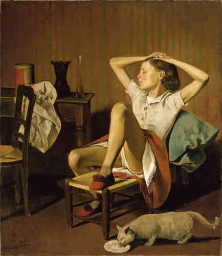 «Malgré la diversité des thèmes qui caractérise sa production picturale, Balthus est le plus souvent associé aux tableaux montrant des jeunes filles. Ce qui fascinait Balthus dans ce motif, c'était l'oubli de soi et l'inaccessibilité qu'il observait chez les adolescentes. Ses représentations de jeunes filles sur le point de devenir adultes illustrent une tension caractéristique entre l'insouciance de l'enfance et la séduction érotique.»
