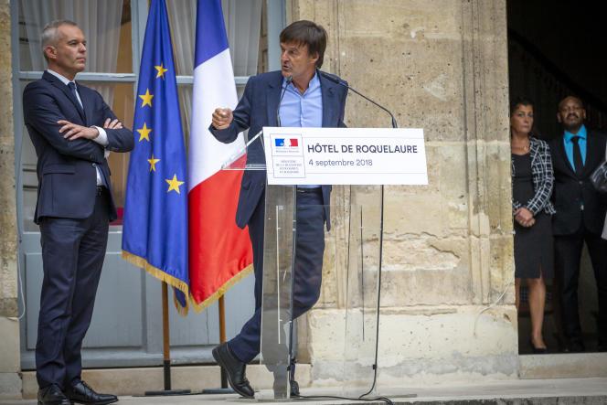 Passation de pouvoir au ministère de la transition écologique et solidaire, entre Nicolas Hulot et François de Rugy, à Paris, mardi 4 septembre.