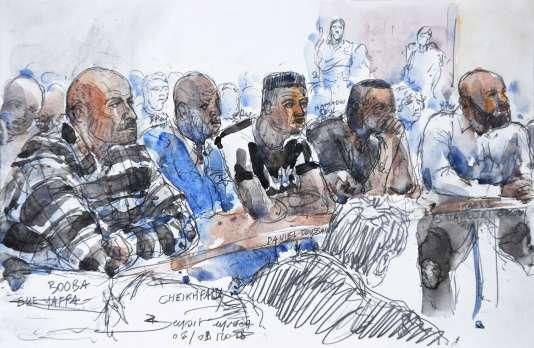 Croquis d'audience du procès des rappeurs Booba et Kaaris, à Créteil, le 6 septembre.