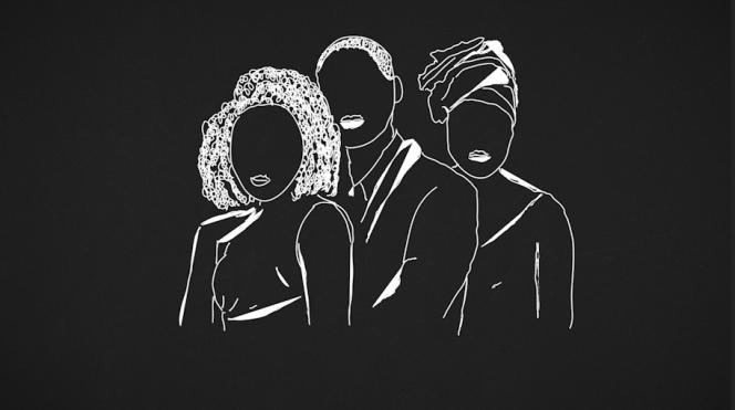 Dessin représentant Djadja(le prénom a été changé),à gauche, son époux et sa co-épouse (à droite).