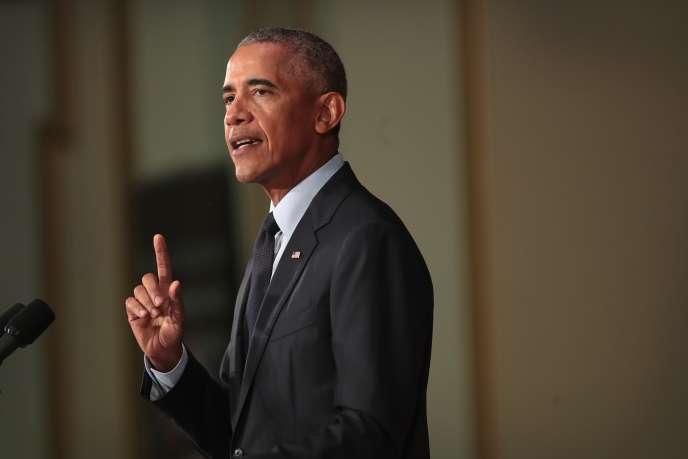 Barack Obama lors de son discours devant les étudiants de l'université de l'Illinois, à Urbana, le 7 septembre.