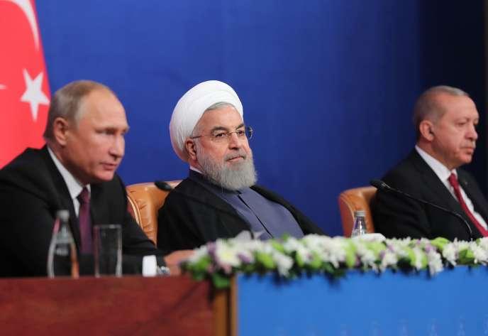 Vladimir Poutine, Hassan Rohani et Recep Tayyip Erdogan, à l'issue de leurs pourparlers sur le sort d'Idlib,à Téhéran, le 7septembre.
