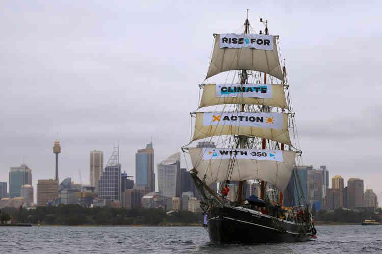 Dans le cadre de l'appel baptiste« Rise for climate» (« Debout pour le climat»), des mobilisations ont eu lieu dans une centaine de pays. Ici à Sydney, en Australie.