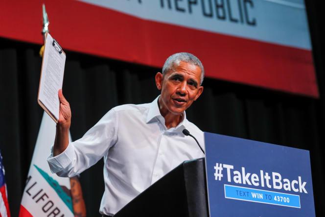 Barack Obama, lors d'un meeting à Anaheim (Californie), le 8 septembre 2018.