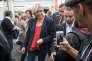 La présidente du Rassemblement national, Marine Le Pen, à la foire agricole de Châlons-en-Champagne, dans la Marne, le 7 septembre.
