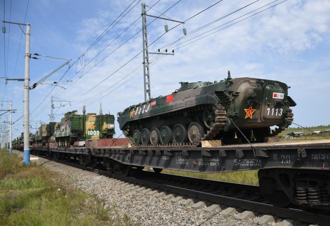 Arrivée de troupes chinoises pour participer à l'exercice militaire Vostok 2018, à Zabaïkalsk (Russie), le 26 août.