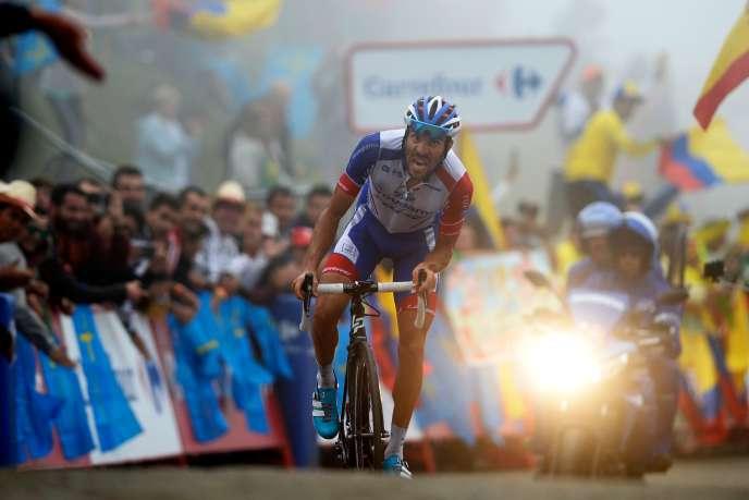 Thibaut Pinot remporte la 15e étape de la Vuelta aux lacs de Covadonga, le 9septembre 2018.