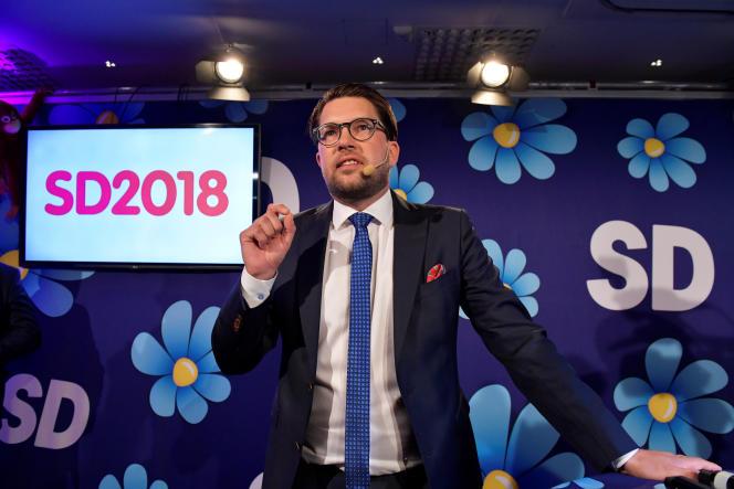 Jimmie Akesson, le leader des Démocrates de Suède), après l'annonce des résultats des élections législatives, le 9 septembre, à Stockholm.