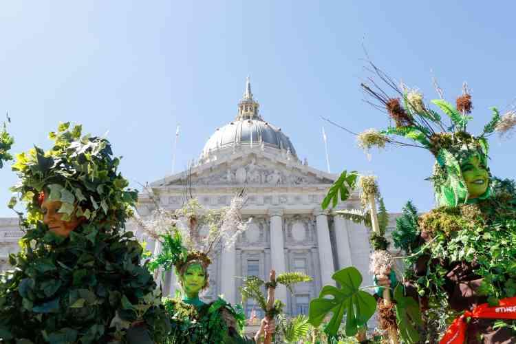 Des membres de l'ONG The Forgotten Solution, déguisés en arbres, manifestent devant la mairie de San Francisco, le 8 septembre.