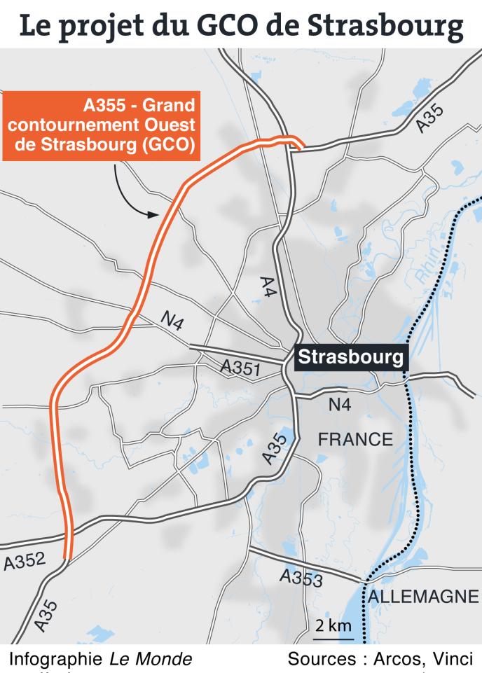 Pla de la rocade de contournement de Strasbourg.