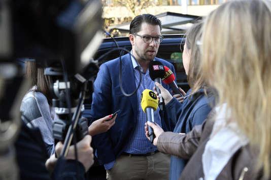 Le chef de file des Démocrates de Suède (extrême droite), Jimmie Akesson, à Stockholm, le 10 septembre 2018.