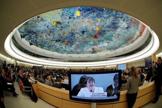 Michelle Bachelet lors de son discours au Conseil des droits de l'homme, à Genève, le 10 septembre 2018.