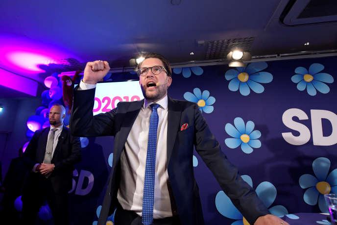 Le leader des Démocrates de Suède, Jimmie Akesson, après les résultats de son parti aux élections, à Stockholm, le 9septembre.