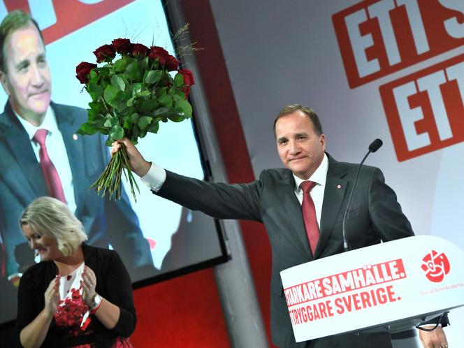 Le premier ministre sortant, le social-démocrate Stefan Lofven, après les résultats, le9septembre à Stockholm.