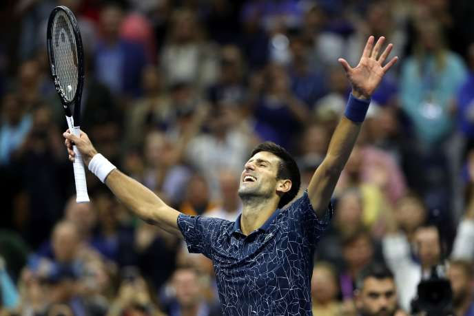 Novak Djokovic réagit à sa victoire contre Juan Martin del Potro en finale de l'US Open, à New York, le 9 septembre.