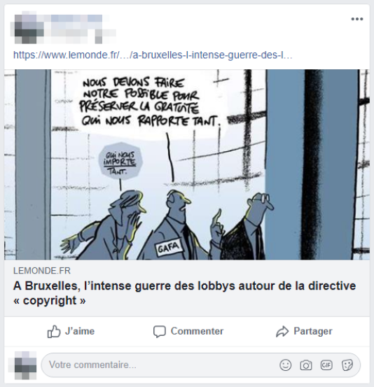 Exemple d'un article partagé sur Facebook, qui aspire le titre et l'illustration de l'article.