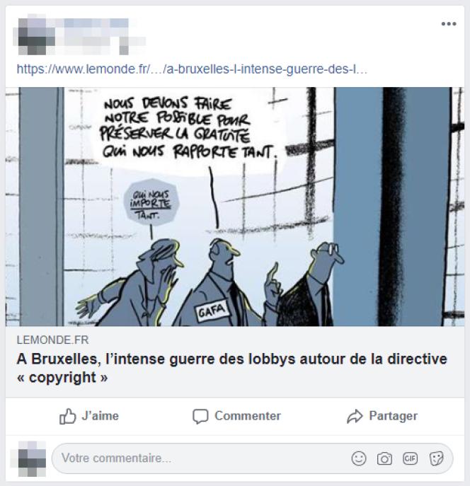 Exemple d'un article partagé sur Facebook, qui aspire le titre et l'illustration de l'article.