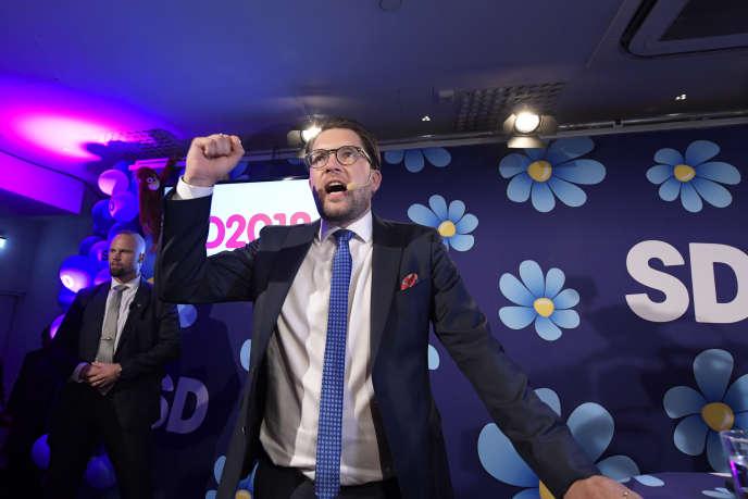 Jimmie Akesson, le leader de la formation d'extrême droite Démocrates de Suède, à l'issue des élections législatives, le 9 septembre à Stockholm.