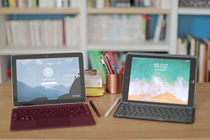 La nouvelle Surface Go 64 Go et l'iPad 128 Go millésime 2018 coûtent tous deux environ 450euros, mais la facture grimpe à 650euros lorsqu'on inclut stylet et clavier.