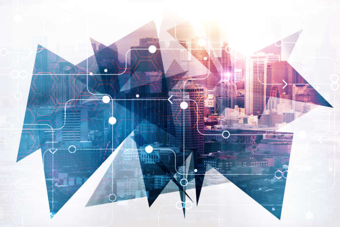 Abstract circuit city background. Urban technology concept. Double exposure ; Shutterstock ID 767976409; Purchase Order: 4501835275; Job: Le Monde; Client/Licensee: Accenture; Other: