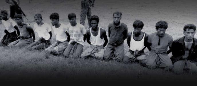 Photo prise le jour de l'exécution des 10 hommes rohingya, obtenue auprès d'un ancien du village, et authentifiée par des témoins.