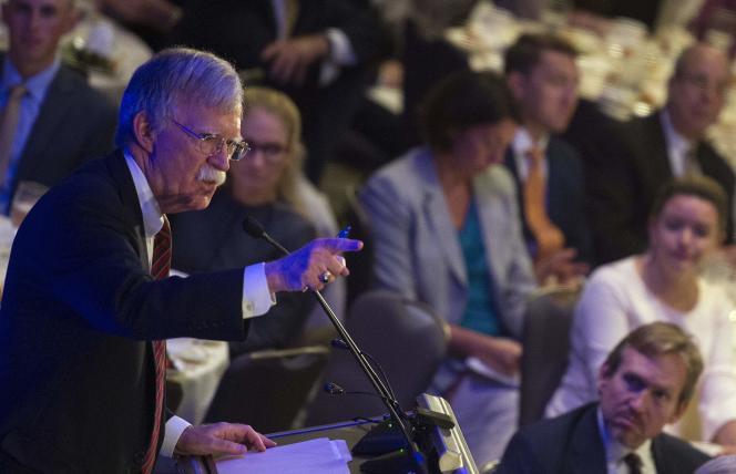 Leconseiller à la sécurité nationale américain, John Bolton, devant la Federalist Society à Washington, le 10 septembre.