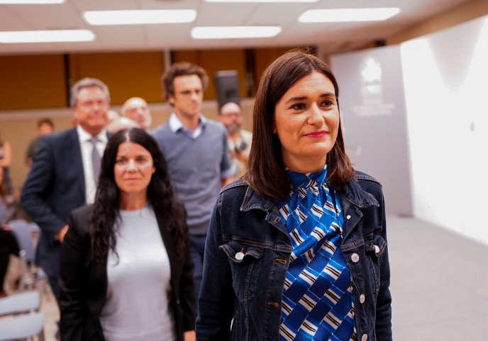 Carmen Monton, après l'annonce de sa démission, le 11 septembre à Madrid.
