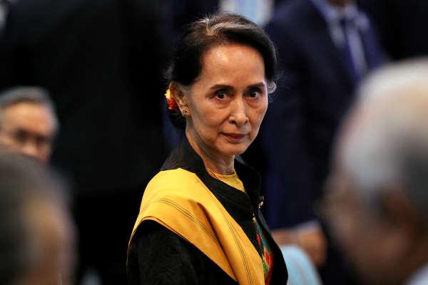 La ministre des affaires étrangères et «conseillère d'Etat» Aung San Suu Kyi, lors du sommet de l'ASEAN, à Manille, le 13 novembre 2017.