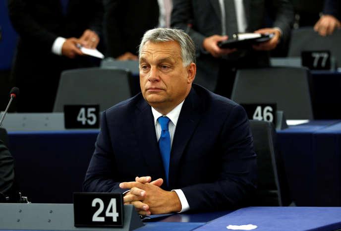 Le premier ministre Viktor Orban, le 11 septembre, au Parlement européen, à Strasbourg.