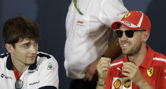 Les deux pilotes Ferrari 2019 : Charles Leclerc (à gauche) et Sebastian Vettel.