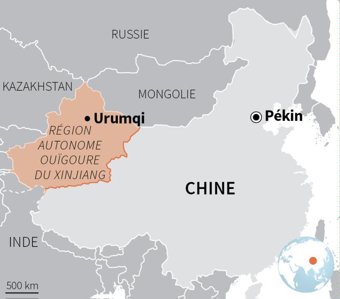 Carte de la région autonome ouïgoure du Xinjiang, en Chine.